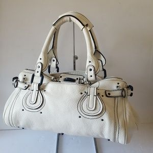 Chloe Paddington Tote Bag White Leather Blue Trim